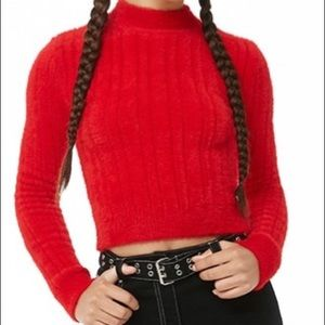 NWOT Red Fuzzy Ribbed Crop Sweater